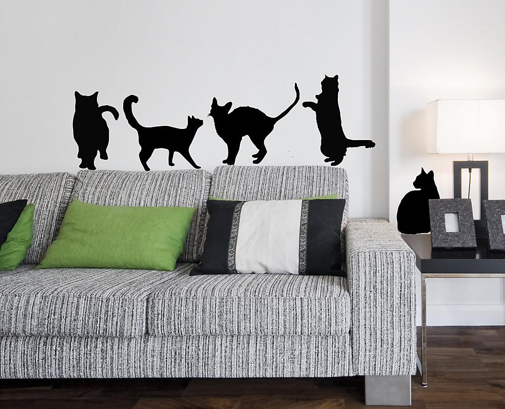 Decorazione Adesiva Armadio : Sticker sagome gatti vari decorazione adesiva murale