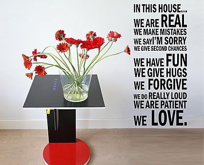 Wall stickers regole della casa - Scritte pareti casa ...