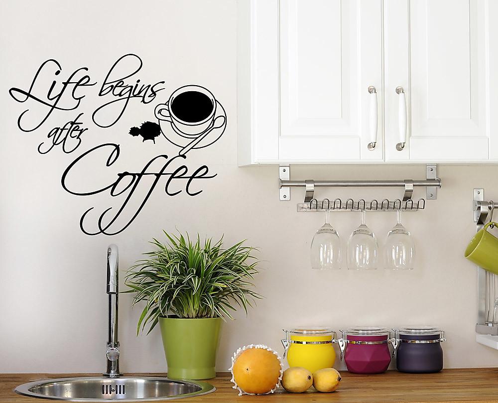 Coffee decorazione adesiva murale - Adesivi da parete per cucina ...