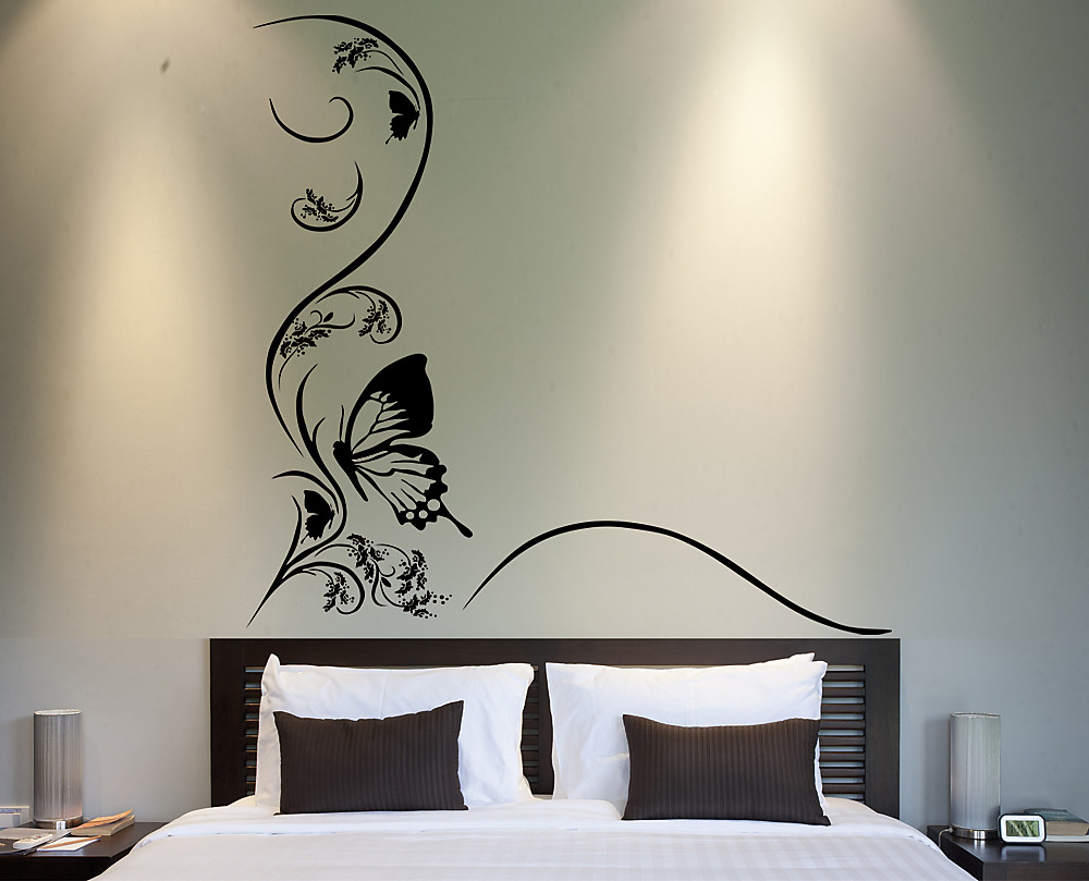 Sticker farfalla con fiore decorazione adesiva murale - Dipinti camera da letto ...