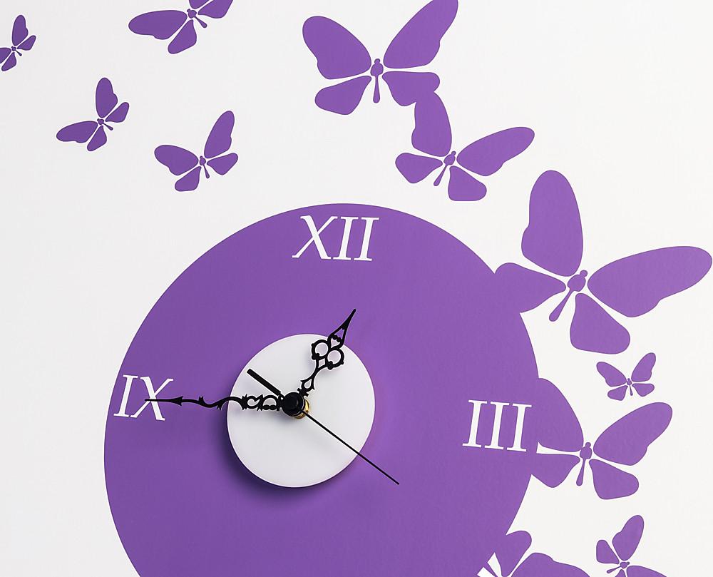 Orologio farfalle decorazione adesiva da parete for Orologio stickers