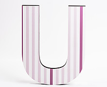lettera in legno U trama righe verticali rosa