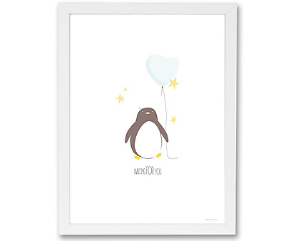 pinguino - stampa in cornice