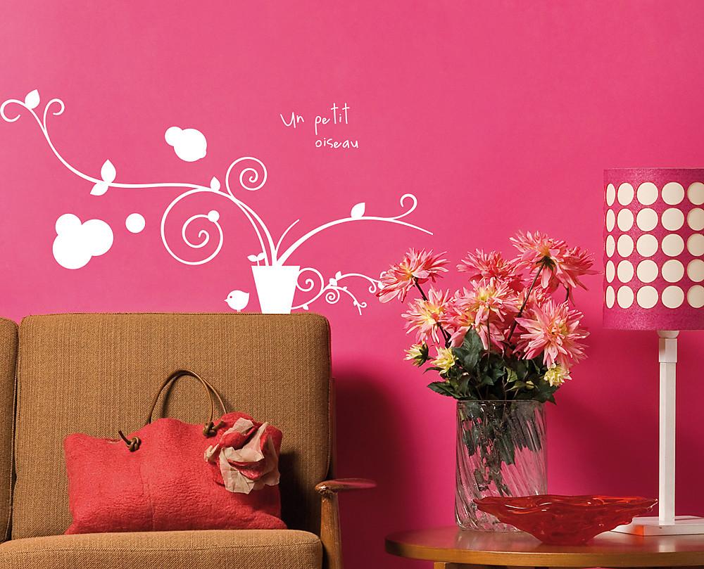 Sticker ramo con uccellino decorazione adesiva murale for Cornice adesiva per pareti