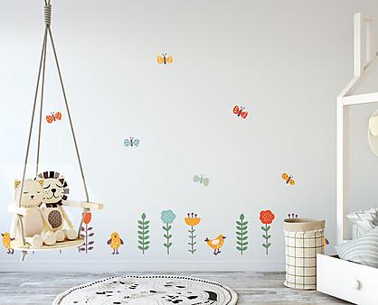 fiori farfalle e uccellini