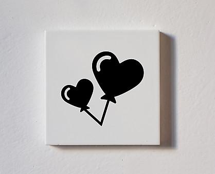 Palloncini cuore - tessera decorativa in legno