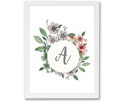 iniziale con fiori acquerellati - stampa in cornice
