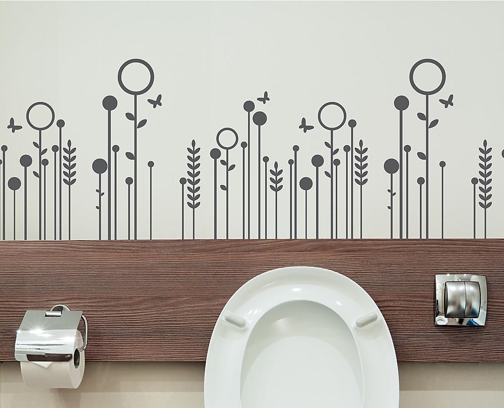 Sticker fiori stilizzati decorazione adesiva murale for Casette in legno abitabili arredate