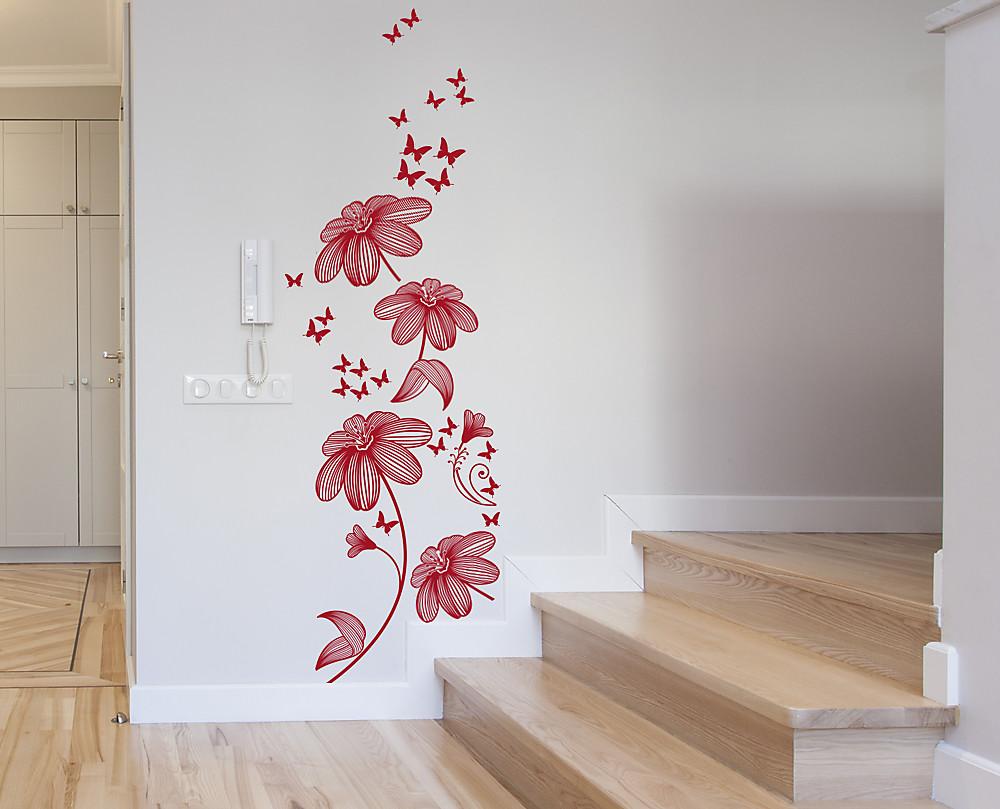 Wall sticker tralcio decorazione adesiva floreale - Decorazioni floreali per pareti ...