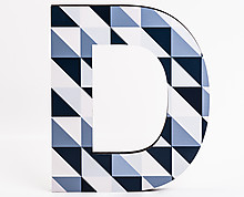wood letter D with blue diagonal squares