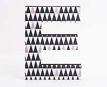 wood letter E with black triangle textures
