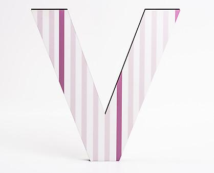 lettera in legno V trama righe verticali rosa
