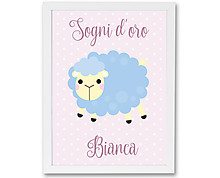 pink sheep - print with frame