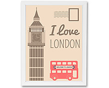 london postcard - print with frame