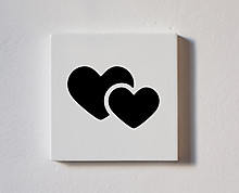 overlapped hearts - decorative wood tile