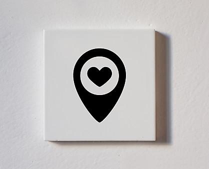 Posizione del cuore - tessera decorativa in legno