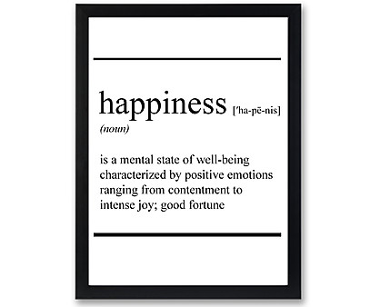 happiness vocabolario - stampa in cornice