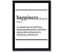 happiness vocabulary - print with frame