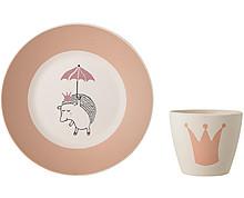 Set piattino + bicchiere BIO rosa