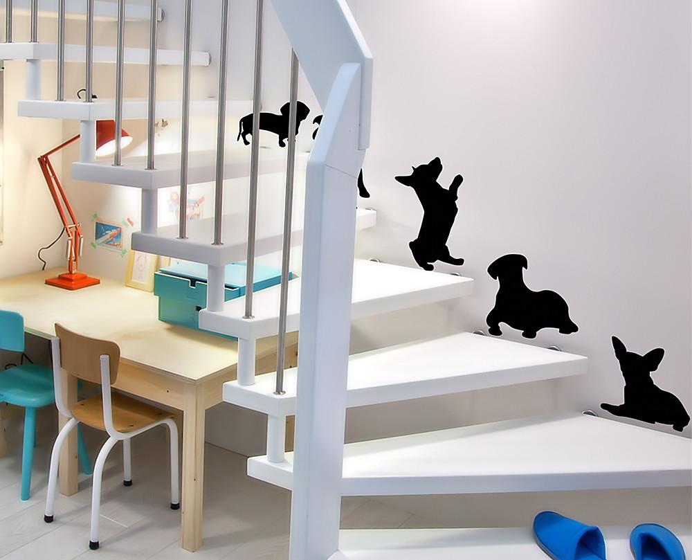 Adesivi Murali Con Animali.Sticker Sagome Cani Decorazione Adesiva Murale
